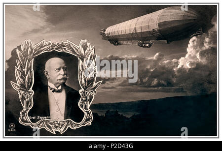 ZEPPELIN FOUNDER COMPANY VINTAGE Count Ferdinand Adolf Heinrich August Graf von Zeppelin (8 July 1838 – 8 March 1917) was a German general and later aircraft manufacturer, who founded the Zeppelin airship company 1916 Commemoration Poster/Postcard - Stock Photo
