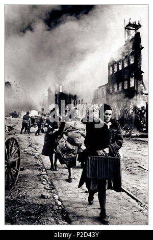 DANZIG 1945 BATTLE WW2 Vintage B&W image of local population fleeing a destroyed Danzig 30th March 1945 According to Soviet claims, in the Battle of Danzig in WW2 the German Army lost 39,000 soldiers dead and 10,000 captured...Second World War World War II - Stock Photo
