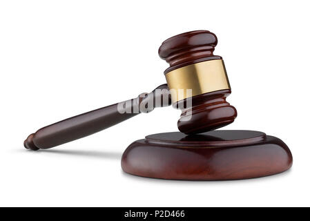 Judge's gavel isolated on white background - Stock Photo