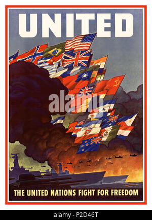 Vintage ' UNITED'  'UNITED NATIONS FIGHT FOR FREEDOM' Propaganda Poster WW2 created during the Second World War (1943), according to the Declaration of the United Nations of 1942. The Poster, created by United States Office of War Information and made by United States Government Printing Office. The poster features the flags of those countries or governments-in-exile that pledged to support the Allied effort.This poster is important because it represents the very origins of the United Nations as a wartime alliance, before it became an official entity - Stock Photo