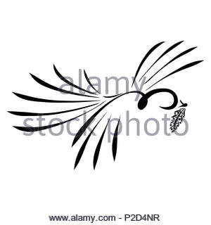 A flying bird with a twig in its beak, good news - Stock Photo