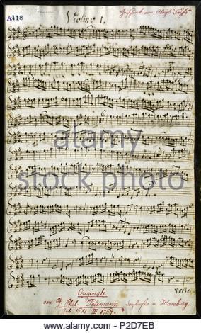 Cantata by Georg Philipp Telemann (1681?1767, German Baroque music composer, born in Magdeburg). Location: Gesellschaft der Musikfreunde in Wien, Vienna, Austria. - Stock Photo