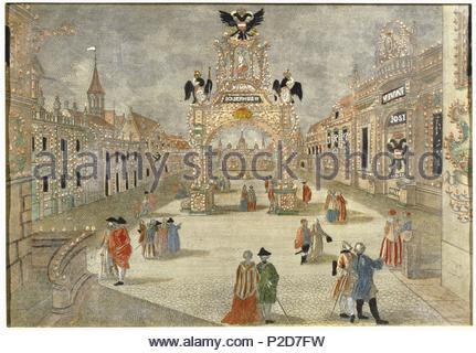 Festival in Frankfurt am Main in honour of the coronation of Joseph II in 1764. Etching; 18th century. Location: Gesellschaft der Musikfreunde in Wien, Vienna, Austria. - Stock Photo