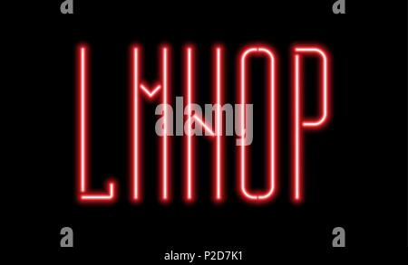 Bright red neon letters on a black background. Letters L, M, N, O, P for night club or night show design. - Stock Photo
