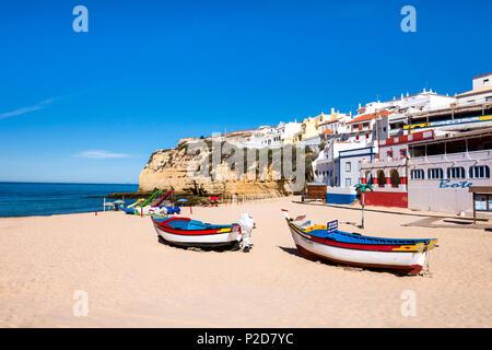 Boats on the beach, Carvoeiro, Algarve, Portugal - Stock Photo