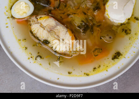 Fish soup with vegetables, rice, herbs and small eggs in white plate. Fresh fish soup with ingredients and spices for cooking. Grey background - Stock Photo