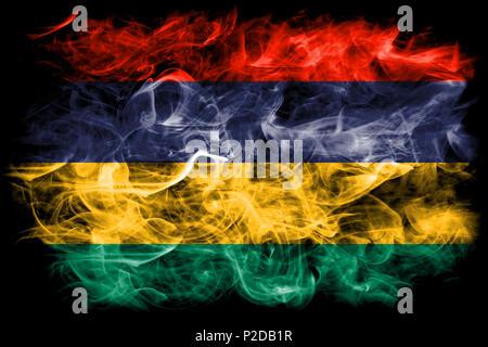 Mauritius smoke flag - Stock Photo