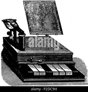 Baudot keyboard, Journal télégraphique 1884 - Stock Photo