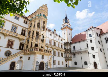 Hartenfels castle, Torgau, Saxony, Germany, Europe - Stock Photo