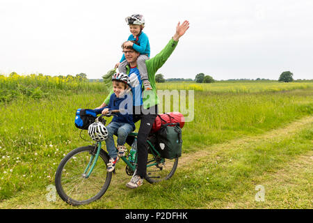 Camping along the river Elbe, Family bicycle tour along the river Elbe, adventure, from Torgau to Riesa, Saxony, Germany, Europe - Stock Photo