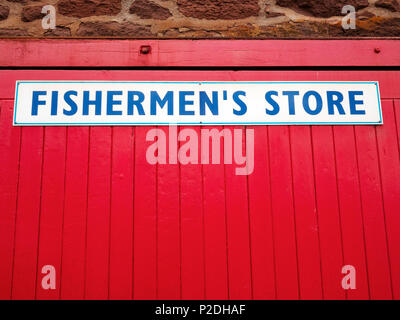 A Fishermen's Store at North Berwick Harbour, East Lothian, Scotland, United Kingdom. - Stock Photo
