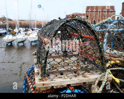 A fishing creel at North Berwick Harbour, East Lothian, Scotland, United Kingdom. - Stock Photo
