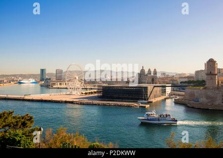 France, Bouches du Rhone, Marseille, J4 pier, Fort Saint Jean, MuCEM (Museum of European and Mediterranean Civilizations) by architect Rudy Ricciotti and the Cathedral of La Major , Hadid's CMA CGM Tower and Jean Nouvel's La Marseillaise Tower - Stock Photo
