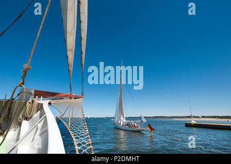 View from sailing boat, Hanseatic City, Luebeck Travemuende, Baltic Coast, Schleswig-Holstein, Germany - Stock Photo