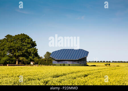 Solar panels on a stable roof, Baltic Coast, Schleswig-Holstein, Germany - Stock Photo