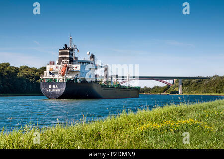 Container ship on the Kiel canal, Kiel, Baltic Coast, Schleswig-Holstein, Germany - Stock Photo