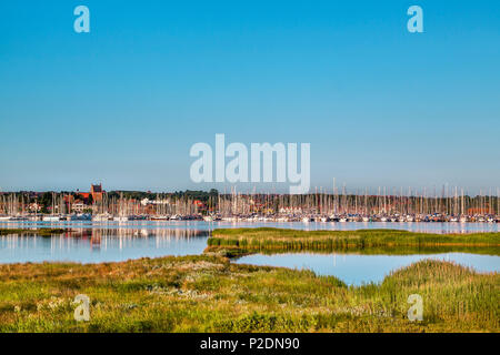 View from Graswarder penninsula towards marina, Heiligenhafen, Baltic Coast, Schleswig-Holstein, Germany - Stock Photo