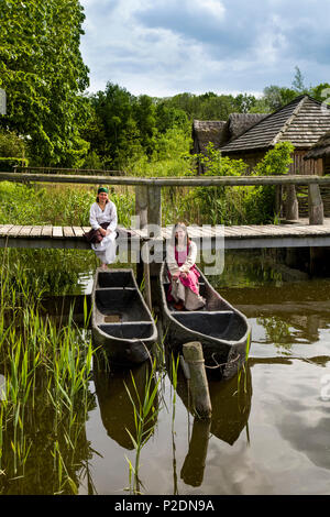 Women in traditional clothes, Wallmuseum, Oldenburg, Baltic Coast, Schleswig-Holstein, Germany - Stock Photo