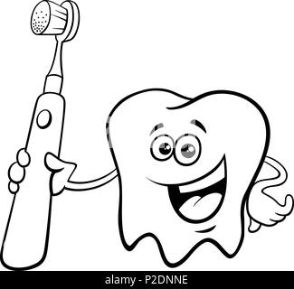 tooth with toothbrush cartoon color book Stock Photo: 217544419 - Alamy