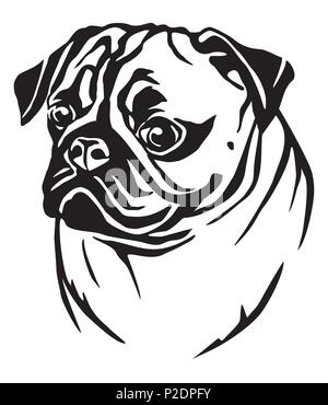 Decorative portrait in profile of dog Pug, vector isolated illustration in black color on white background - Stock Photo