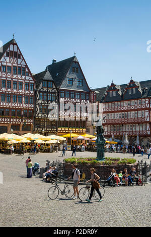 Half-timbered buildings on Roemerberg square, Frankfurt am Main, Hessen, Germany, Europe - Stock Photo