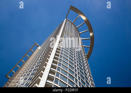 Westend 1 Tower DZ Bank skyscraper in financial district, Frankfurt am Main, Hessen, Germany, Europe - Stock Photo