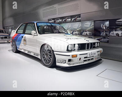 MUNICH, GERMANY-APRIL 4, 2017: 1989 BMW M3 Group A DTM 2.3 (Drivers: Ravaglia, Cecotto, Soper, Giroix) in the BMW Museum. - Stock Photo