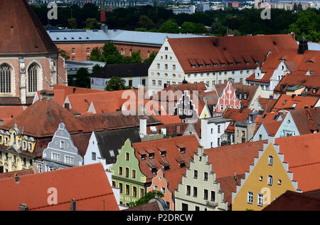 View to the west from the Pfeifturm, Ingolstadt, Upper Bavaria, Bavaria, Germany - Stock Photo