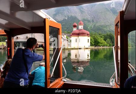Ship on lake Koenigssee near Santa Bartholomae, Berchtesgaden, Upper Bavaria, Bavaria, Germany - Stock Photo