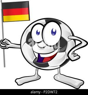 soccer ball cartoon with germany flag - Stock Photo