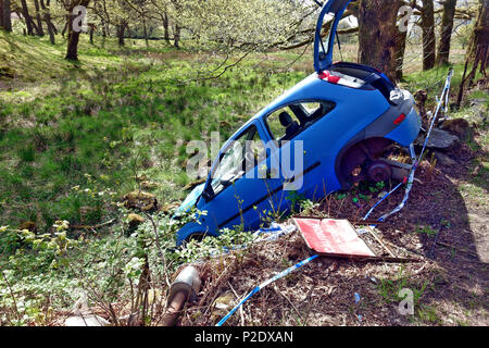 Car accident with the car in a ditch off the A82 between Inverarnan and Ardlui - Stock Photo