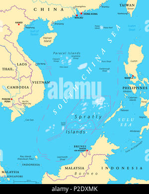 South China Sea Islands, political map. Paracel Islands and Spratly Islands. Partially claimed by China and other neighboring states. Illustration. - Stock Photo