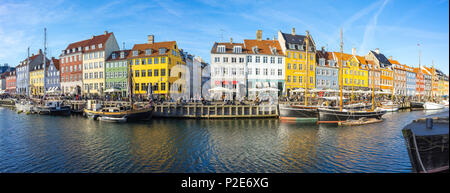 Panorama view of Nyhavn with the canal in Copenhagen city, Denmark. - Stock Photo