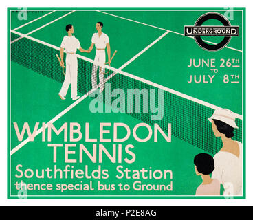 Vintage 1933 Wimbledon Tennis Poster Advertising Lithograph in the Art Deco style. Artist Andre Edouard Marty created this poster for Wimbledon matches June 26th-July 8th 1933 with suggested access by London Underground via Southfields Station - Stock Photo