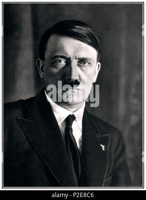 1930's Adolf Hitler (1889-1945) formal portrait B&W in civilian clothing Nazi Chancellor of Germany 1933-45. - Stock Photo