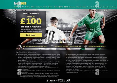 Bet365 online gambling website - Stock Photo