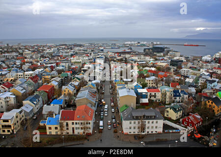 Ariel view of Reykjavik city in Iceland, Europe - colourful rooftops from Hallgrimskirkja Church - Stock Photo
