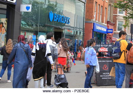 Barclays Bank at Market Street Manchester on a Wednesday afternoon as shoppers/people go about their day at Manchester City Centre Uk Summer June 2018 - Stock Photo