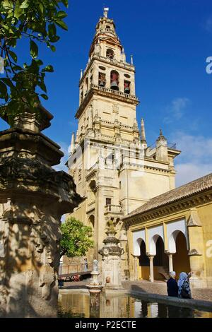 Spain, Andalusia, Cordoba, Bell tower of the Mezquita, the mosque cathedral of Cordoba, from the patio of orange trees - Stock Photo