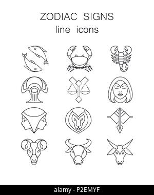 Linear symbols set, 12 zodiac signs, horoscope icons Stock