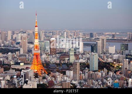 Tokyo Tower and Bay seen from above, Minato-ku, Tokyo, Japan - Stock Photo