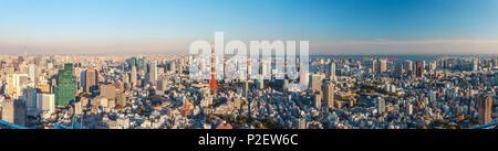 Tokyo Skyline seen from Roppongi Hills with Skytree, Tokyo Tower and Bay, Minato-ku, Tokyo, Japan - Stock Photo
