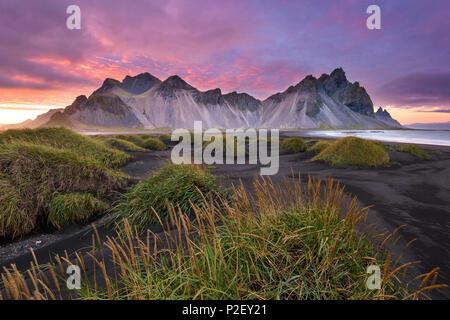 Sunset, Vestrahorn, Stokksnes, Mountains, Beach, Iceland, Europe - Stock Photo