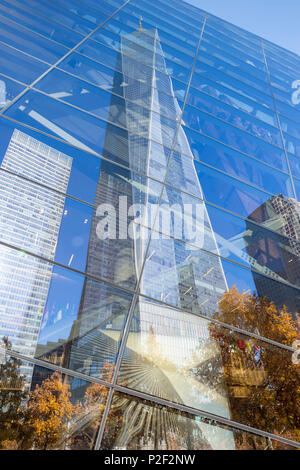 1 WTC or One World Trade Center reflecting in the glass, National September 11 Memorial and Museum, World Trade Center site, mem - Stock Photo