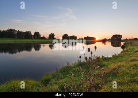 Old arm of Rhine river, near Rees, Lower Rhine, North-Rhine Westphalia, Germany - Stock Photo