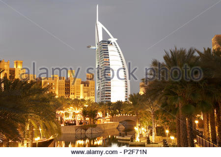Madinat Jumeirah, luxury resort at Jumeirah beach, like a town with Arabian flair with markets, hotel, resort, luxury, Dubai, Un - Stock Photo