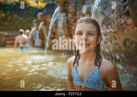 8-year-old, Hot Springs Air Panas Banjar at Bubunan, Bali, Indonesia - Stock Photo
