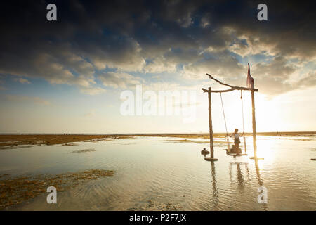 Beach swing at low tide, Gili Trawangan, Lombok, Indonesia - Stock Photo