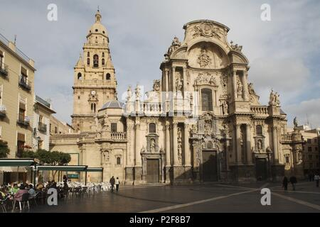 SPAIN - La Huerta de Murcia (district) - MURCIA. Murcia (capital); Plaza del Cardenal Belluga y Catedral. - Stock Photo