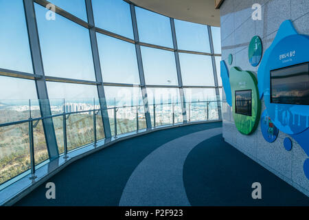 Ulsan, Korea - February 9, 2017 : City view from Ulsan Bridge Observatory - Stock Photo